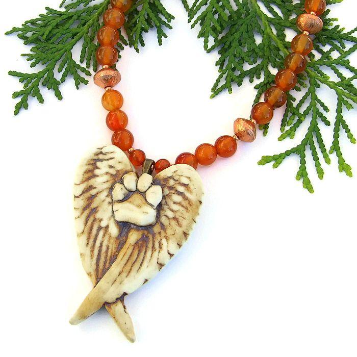 #Dog #Angel #Handmade #Necklace, #PawPrint Wings Carnelian ...