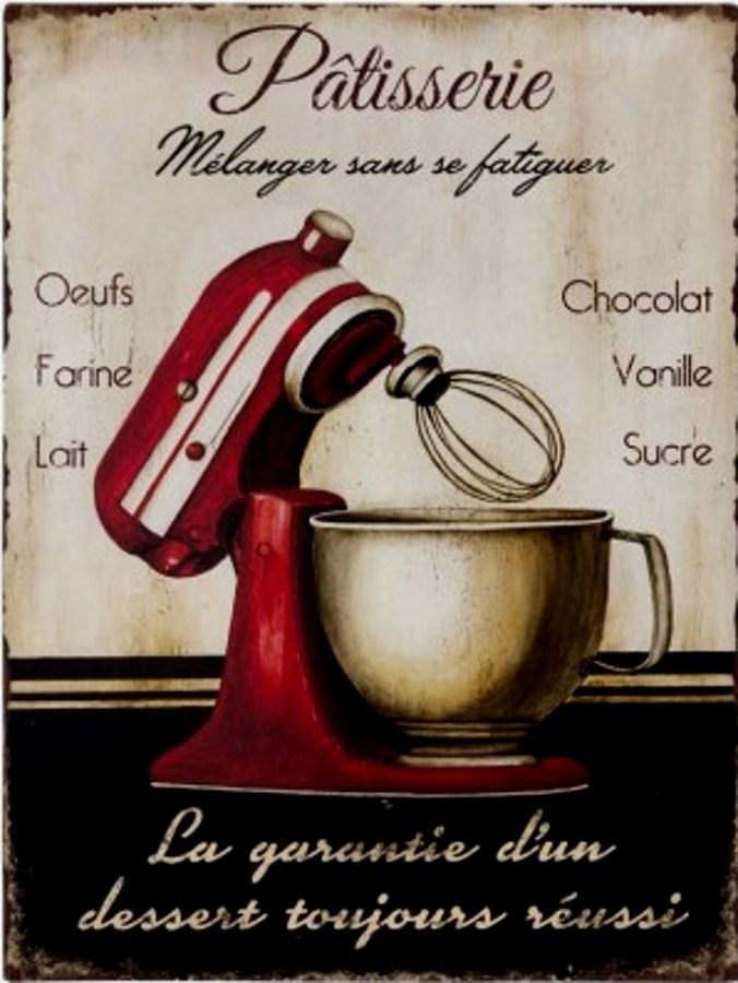 Plaque Métal Vintage Pâtisserie Robot Rouge Plaques