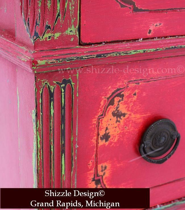 Antique Highboy Layered in Orange, Green, Red and Teal with Funky, Chunky Distressing | Shizzle Design