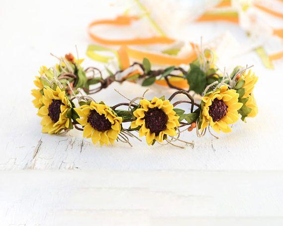 Floral bridal crown, Yellow hair crown, Summer wedding hair, Rustic headpiece, Fall crown, Autumn headband, yellow hair wreath, Boho summer