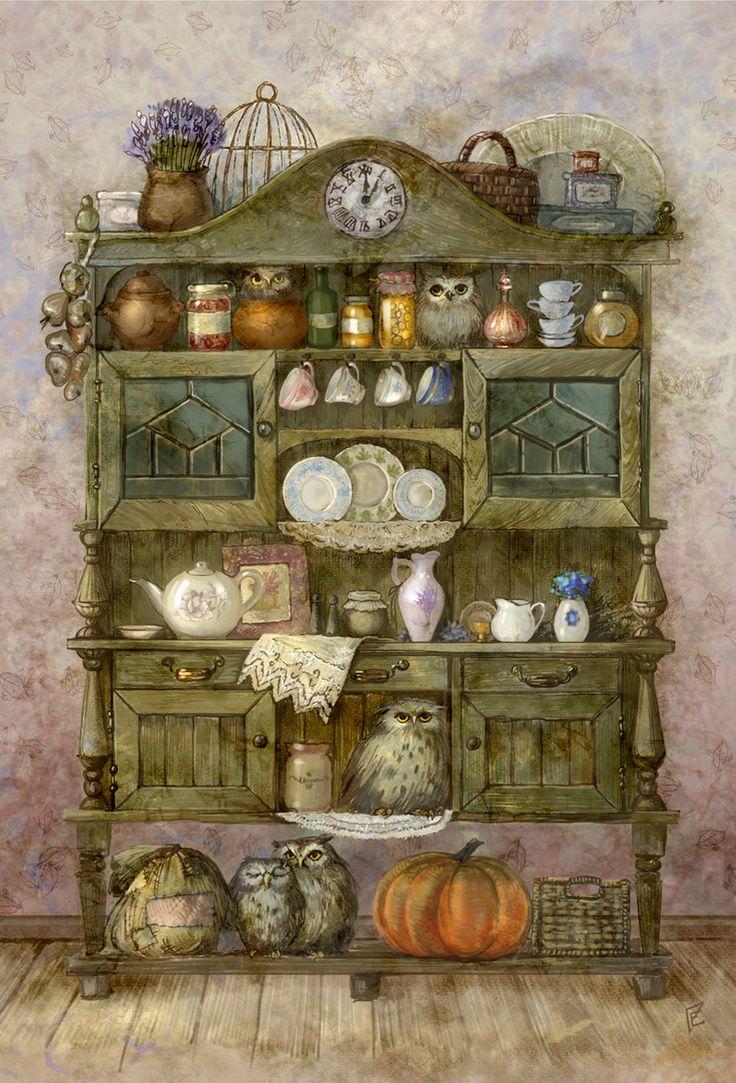 Buffet with owls by ~ArtGalla on deviantART