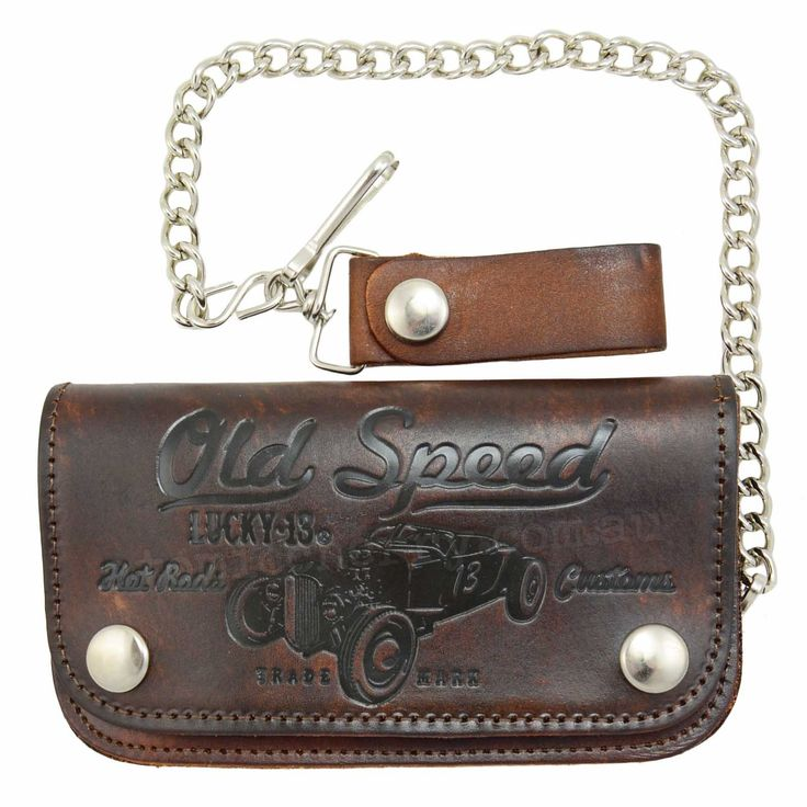 Lucky 13 Old Speed Embossed Leather Chain Wallet