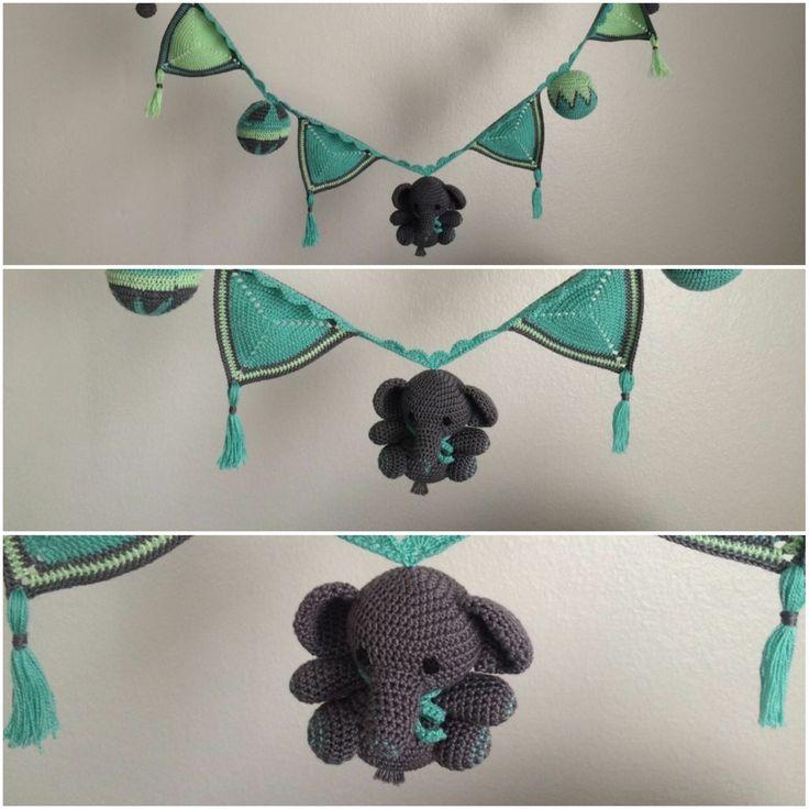 Banderines de crochet con decoración de elefante en amigurumi. Tejido a mano.