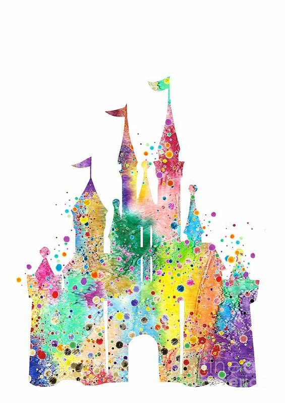 Disney Castle Watercolor Print Art Print By White Lotus