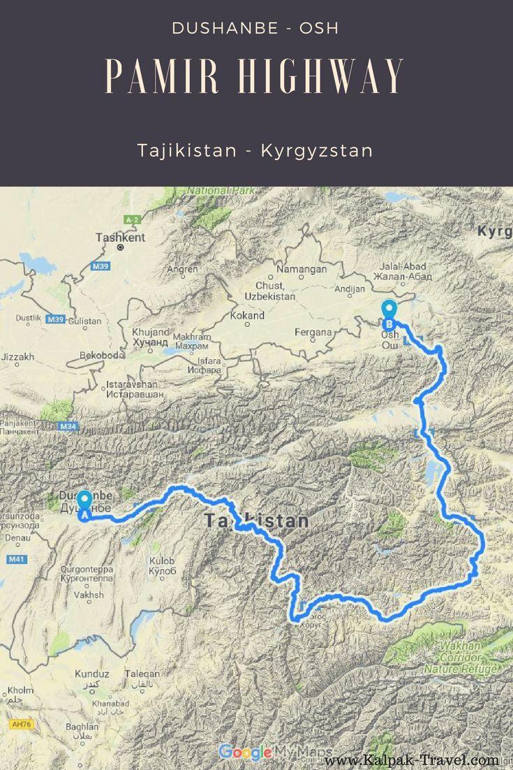 Pamir Highway Route #travel #adventure #map #Pamirhighway #tajikistan #centralasia