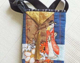 Kunst tas met Japanse vrouw, gewatteerde geisha machine, denim