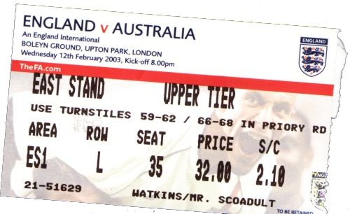 England vs Socceroos, London, 2003. Australia won 3-1.