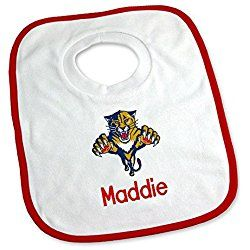 Designs by Chad and Jake Baby Personalized Florida Panthers Bib One Size White
