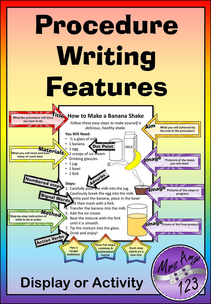 Procedure Writing Features- Display or Activity