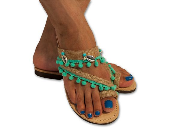 Turquoise Leather Sandals , Greek Sandals , Boho Sandals , Sea shell Sandals,Bohemian Sandals , Pom pom Sandals , TZIA