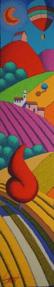 STEFANO CALISTI - A passeggio con il rosso - serigrafia su tavola - dim 10x50