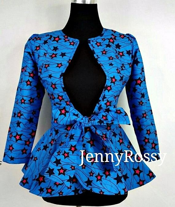 African clothing Top Ankara print stylish jacket African peplum Top. Ankara | Dutch wax | Kente | Kitenge | Dashiki | African print bomber jacket | African fashion | Ankara bomber jacket | African prints | Nigerian style | Ghanaian fashion | Senegal fashion | Kenya fashion | Nigerian fashion | Ankara crop top (affiliate)