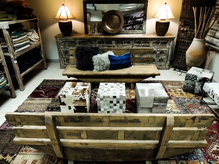 Southwestern Desert Decor @ Indus Design! #cube #ottoman #cowhide #natural #accentfurniture #decor #homedecor #southwest #southwestern #haironhide #wood #wooden #copper #lampshade #rawhide #bench #sideboard #fabric #patterns #details #interiordesign #interiordesignideas #fall #Phoenix #Arizona #AZ #Scottsdale #Tempe #rustic #antiques
