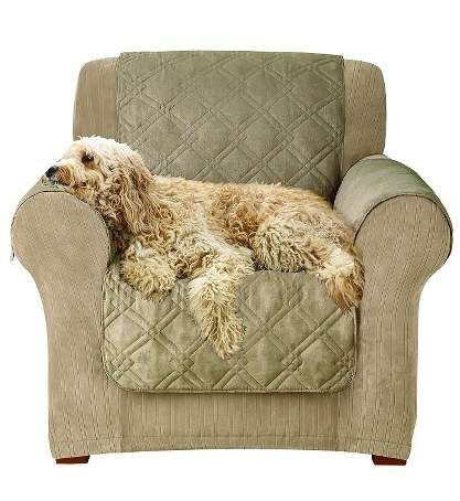 Sure Fit Furniture Friend Microfiber Nonskid Chair Pet Cover. Sure Fit Microfiber Non-Skid Furniture Cover has silicone dots on the reverse side to keep the cover from slipping off furniture. Stays securely in place. Polyester face fabric with a soft microfiber backing material. Quilted design included some polyester fill for added comfort. Perfect to protect furniture from pets.  #ad#slipcover#pet