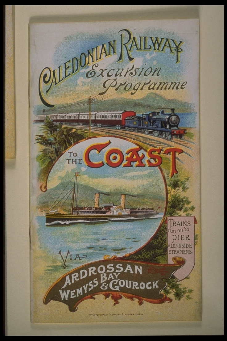 July and August 1902 Front Cover  Caledonian Railway. Excursion Programme to the Coast via Ardrossan Wemyss Bay & Gourock