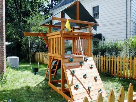 small area playset | Small yard kids, Backyard playset ...