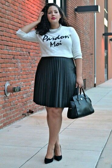 bf40828dd0 How to be stylish in a plus size skater skirt 19 outfit ideas | Plus ...