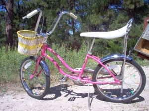 banana bike - I remember riding for hours each day on my 'Dragster'.  It was lime green with a plastic woven basket on the front and tassels on the handlebars and black seat with a lime green stripe down the middle.  I remember we used to attach playing cards with clothes pins on our wheels to make an engine sound.
