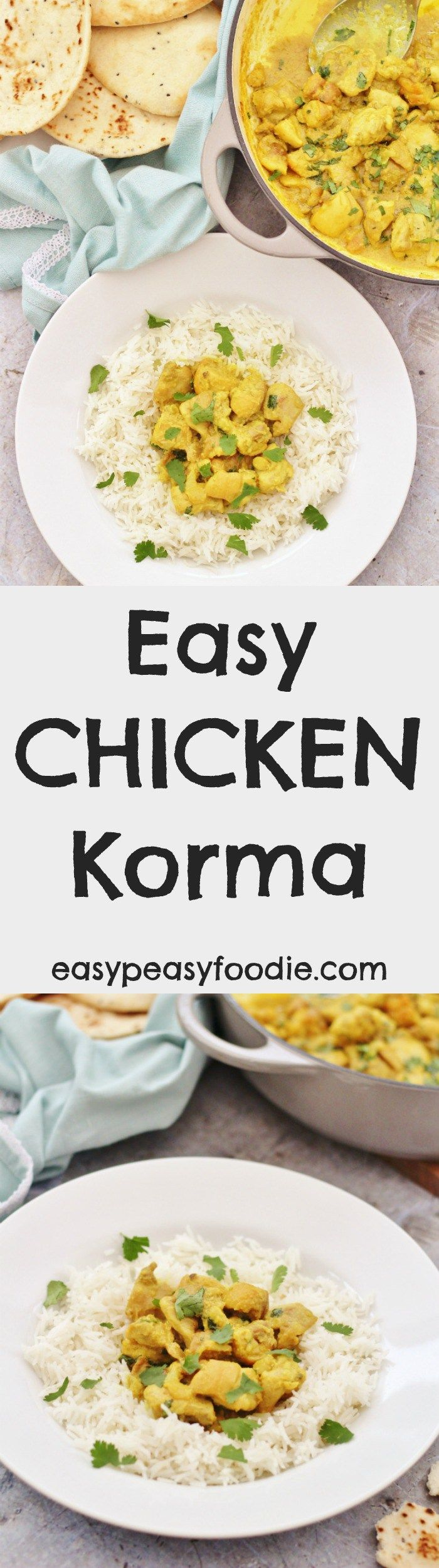 Mild and creamy with just a touch of spice, this Easy Chicken Korma is perfect for kids and those who don't like their curries too hot. This simple curry recipe is very easy to make and takes just 25 minutes - ideal for busy weeknights! #easy #chicken #korma #dairyfree #glutenfree #mild #easydinners #under30minutes
