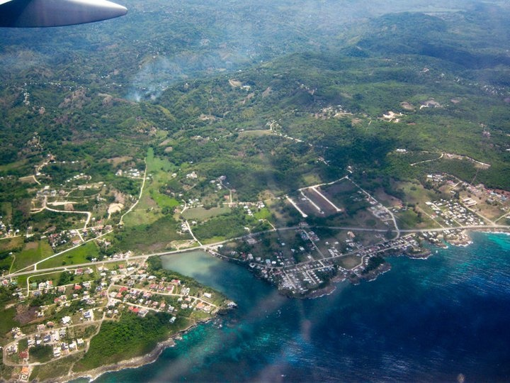 welcome to Jamaica from the plane. we landed in Montego Bay