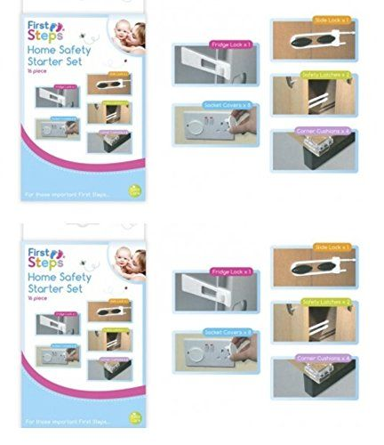First Steps 2 x 16 Piece Home Safety Child Baby Proofing Safety Kit Locks Covers Latches 16 Piece Home Safety Child Baby Proofing Safety Kit Each Pack Contains: 1 slide lock 1 fridge lock 2 safety latches 8 socket covers 4 corner cushions Easy to use. Ideal f (Barcode EAN = 5015302101732) http://www.comparestoreprices.co.uk/december-2016-3/first-steps-2-x-16-piece-home-safety-child-baby-proofing-safety-kit-locks-covers-latches.asp