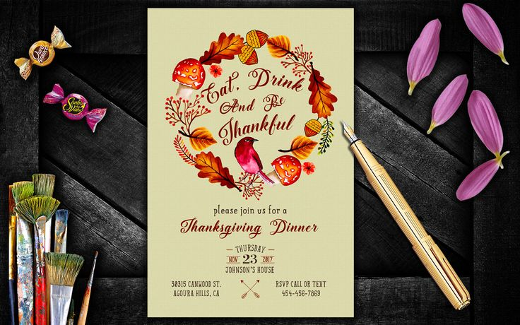Floral Thanksgiving Invitation, Thanksgiving Dinner Invite, Thanksgiving Invitation, Eat Drink And Be Thankful, Fall Wreath Invite by PrintablesForEvents on Etsy