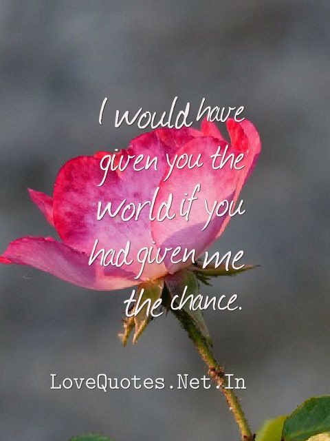 I would have given you the world if you had given me the chance. #lovequotes