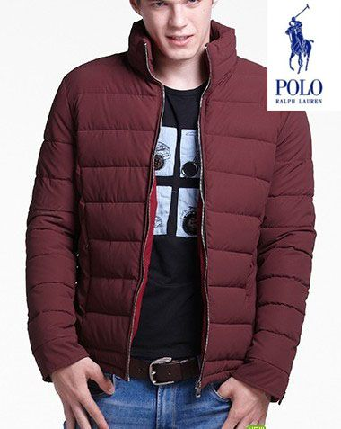 Polo Ralph Lauren Mens Solid Down Coat In Deep Red outlet sale