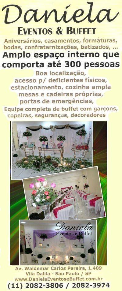 Se você busca um local confortável e elegante para a sua recepção de convidados, oferecemos justamente o que você procura. (11) 2082-3806  www.facebook.com/danielaeventosebufett