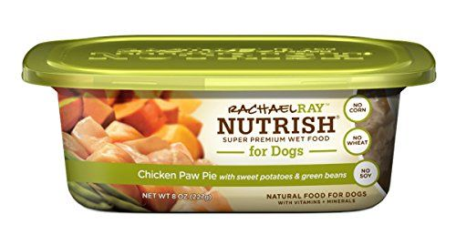 Rachael Ray Nutrish Natural Wet Dog Food, Chicken Paw Pie, Grain Free, 8 oz tub, Pack of 8  Natural Wet Dog Food with Added Vitamins and Minerals  Made with Real Chicken  Grain Free, with No Corn, Wheat or Soy  No Poultry by-products or fillers  No Artificial Flavors or Artificial Preservatives