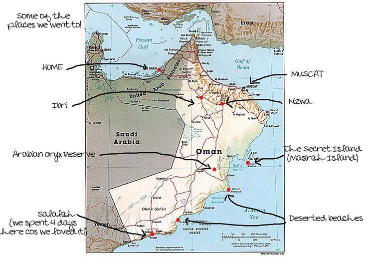 Oman Road Trip Map Road Trip Map Trip Road Trip