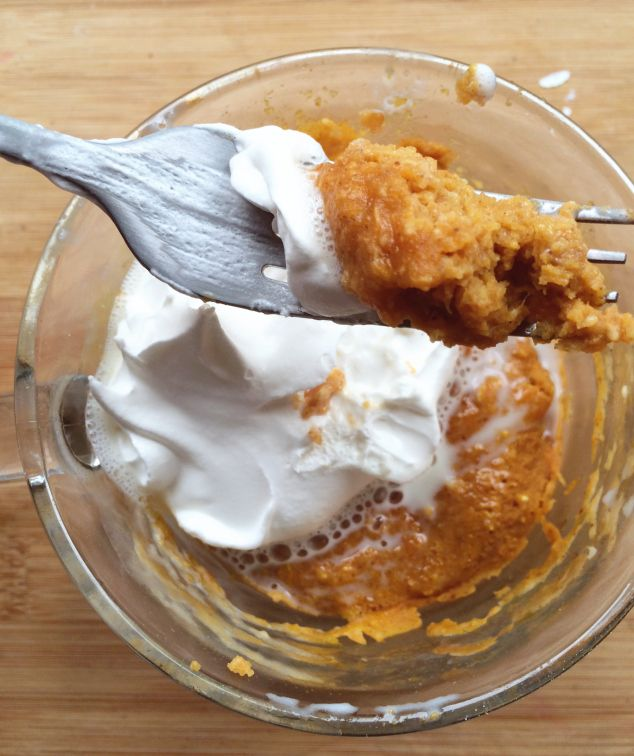 3 Minute Pumpkin Pie in a Mug 1/2 cup Pumpkin Puree 2 tablespoons oat flour or 3 tablespoons oats (oat flour is just ground oats, super easy if you have a blender!) 2 tablespoons Truvia Baking Blend (or 2 packets stevia) 1 egg 1 tsp Pumpkin Pie Spice 1/4 tsp baking powder