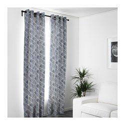 """NUNNERÖRT Curtains, 1 pair, blue/white - 57x98 """" - IKEA"""