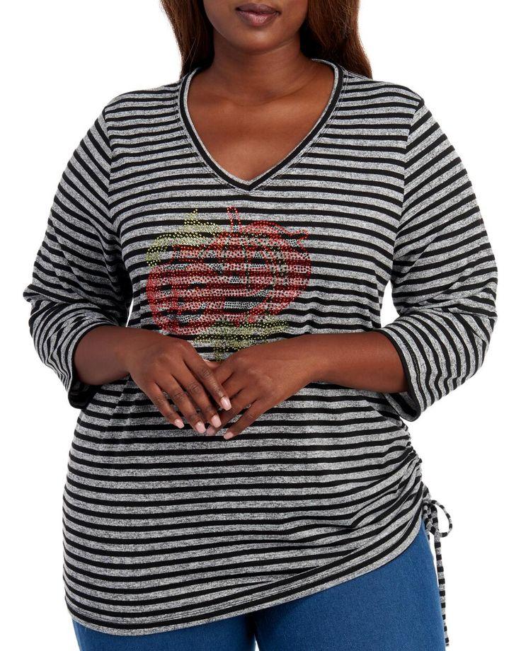 Onque Woman Women's Plus Size Rhinestone Pumpkin Stripe Tee | 1X |  polyester rayon 17