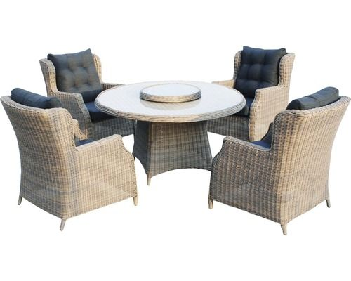 Dining/Loungeset Chesterfield Polyrattan 4-Sitzer 5-teilig ...