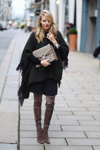 Poncho kombinieren: als trendy Alternative zur Winterjacke