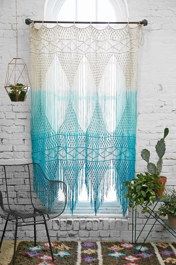 Blue Multicolor Ombre Crochet Magical Thinking Safi Wall Hanging Curtains @ Urban Outfitters $200