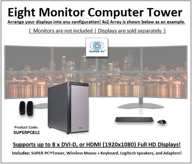 SUPER PC | Eight Monitor Workstation | 5th Gen Intel Core i7 Six Core CPU  Save 5% with Coupon Code: VPC5PO  3.6Ghz Intel Core i7 Six-Core CPU (3.9Ghz Turbo Boost) 64GB of DDR4 PC-24000 (3000Mhz) System RAM Memory 16GB Nvidia Geforce GTX 1070 GDDR5 [256-bit] Graphics Virtual Reality Ready and Compatible System 1TB SSD (Solid State Drive) 500MB/s Read & Write Windows 10 Professional 64-Bit OS with Recovery Disc Blu-Ray/DVD/CD/RW Optical Disc Drive and Burner All-In-One Digital Flash Media…