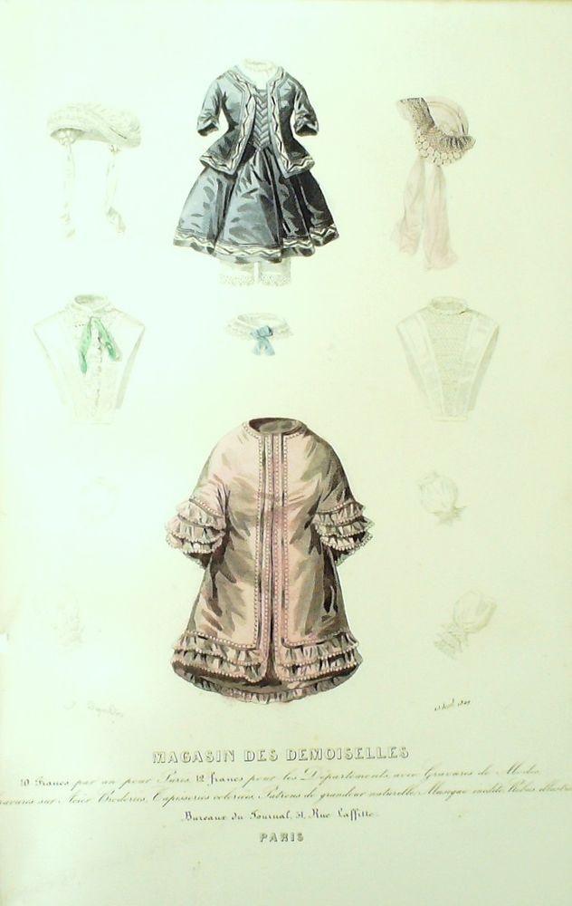 April 1849  +++++++++  GRAVURE de MODE AUTHENTIQUE-F173-MAGASIN DEMOISELLES-LINGERIE-1849