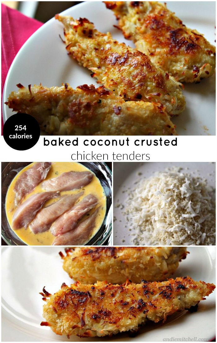 Baked Coconut Crusted Chicken Tenders Recipe! A lighter way to enjoy the coconut chicken fingers you love - bake them! This is a recipe everyone loves and requires only a handful of easy to find ingredients! Kid friendly, great as an appetizer, and only 254 calories per serving