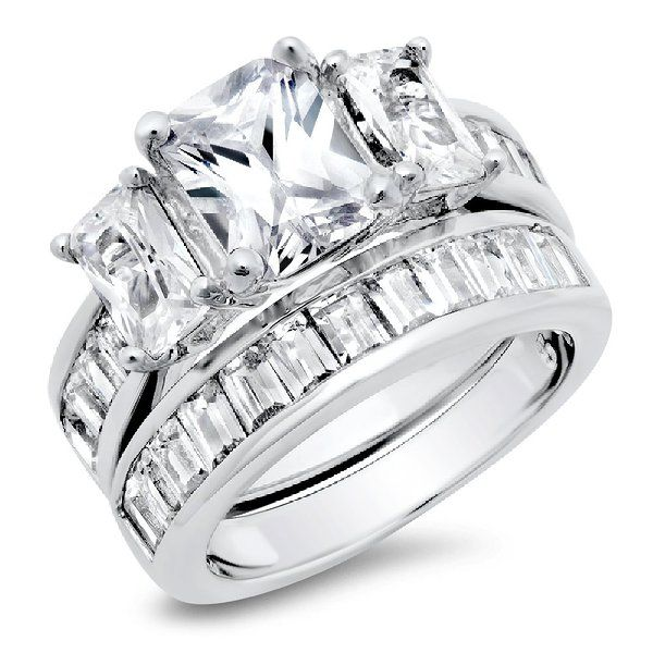 Popular  Carat Radiant Cut Cubic Zirconia CZ Sterling Silver Women us Wedding Engagement Ring Set