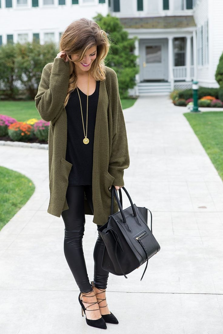 Long olive cardigan + leather leggings + suede strappy heels