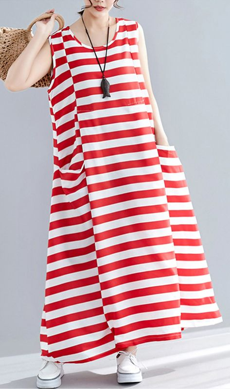 a3fff09eac19 Chic red striped cotton clothes Women sleeveless o neck pockets long summer  Dress