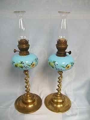 Antique Pair Of Beautiful Enameled Opaline Blue Glass Oil Kerosene Lamps As  Is   EBay