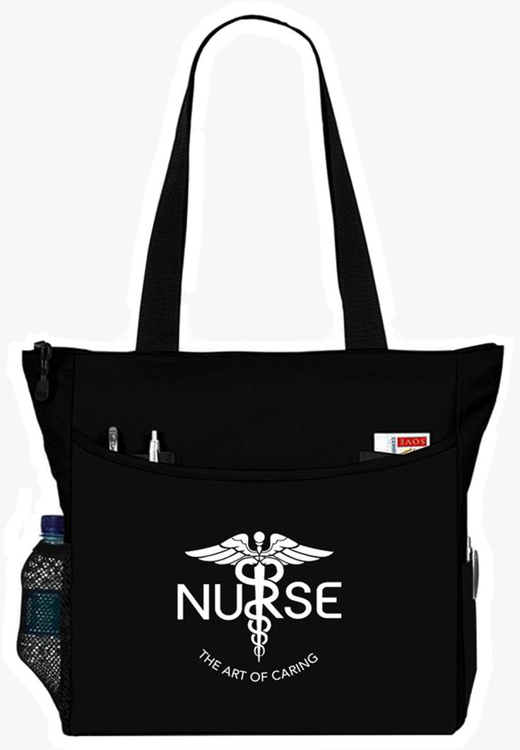 - NURSE - The Art Of Caring zippered main compartment, heavy weight tote bag - Features vibrant one sided printing, extra deep full width front slip pocket - Side mesh water storage pocket, spacious i