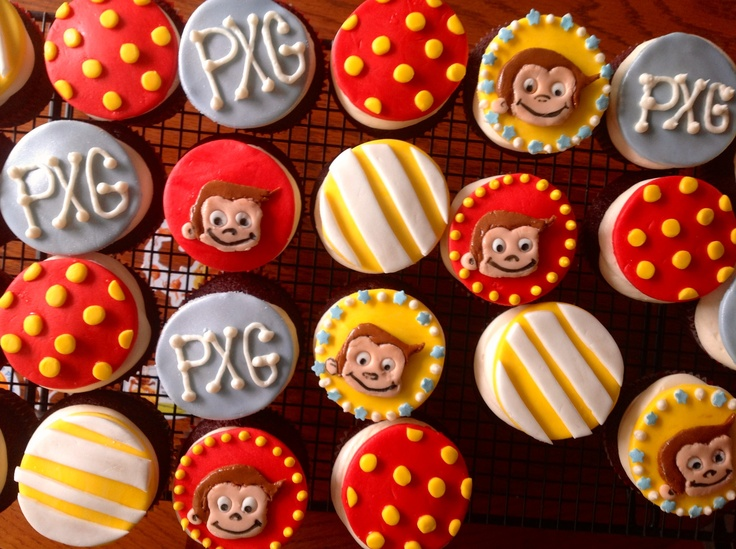 Curious George baby shower cupcakes!Shower Ideas, Baby Shower Cupcakes, Hillary Shower