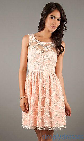 Short Sleeveless Lace Dress at SimplyDresses.com, peach