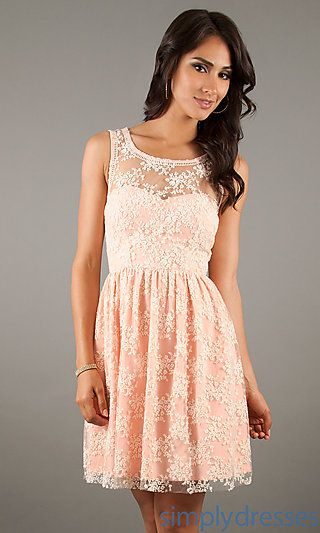 Short Sleeveless Lace Dress at SimplyDresses.com, peach