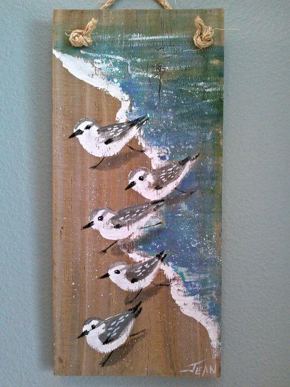 Sanderlings art - beach painting - beach house - reclaimed wood - plaque - sandpipers - coastal decor - vertical wall art