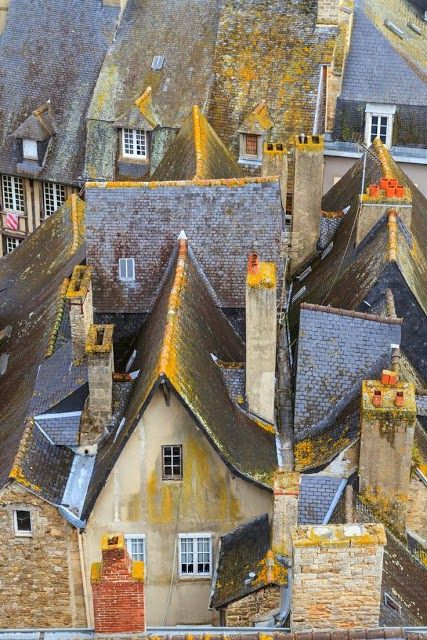Dinan Old Town Roof Tops, Brittany, France